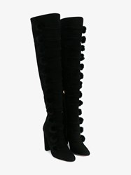 Aquazzura Ulyana Mink Fur Pompom And Suede Over The Knee Boots Black Mink Almond