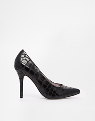 Blink Faux Crocodile Pointed Court Shoes Black