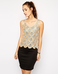 Club L Dress With Scalloped Sequin Overlay Gold