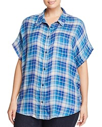 Lucky Brand Plus Short Sleeve Plaid Shirt Blue Multi