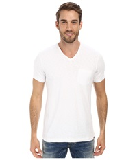 Kenneth Cole Sportswear Acid Washed V Neck White Men's Short Sleeve Knit