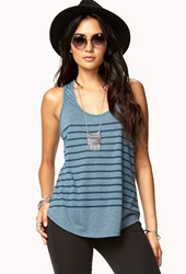 Forever 21 Essential Striped Racerback Tank Teal