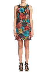 Zzdnu Cece Petite Women's 'Arlington' Floral Shift Dress Rich Black