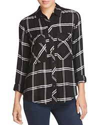 Alison Andrews Zip Shoulder Plaid Shirt Black White