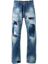 Simon Miller Patched Straight Leg Jeans Blue