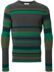 J.W.Anderson Striped Crew Neck Jumper Green