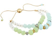 Guess Faceted Bead Two Row Friendship Bracelet Gold Crystal Mint Bracelet