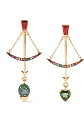 Daniela Villegas Bow 18 Karat Gold Multi Stone Earrings Gold Emerald