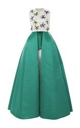 Delpozo Sleeveless Embellished Satin Dress White Green