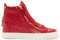 Giuseppe Zanotti Red Croc Embossed London High Top Sneakers