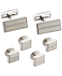 Ryan Seacrest Distinction Brushed Rhodium Cufflinks And Inserts Dress Set Silver