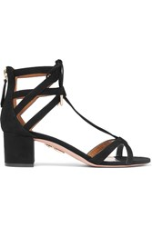 Aquazzura Beverly Hills Suede Sandals Black