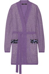 Sibling Party Girl Embellished Metallic Wool Cardigan Purple