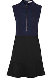 Sandro Open Back Paneled Jacquard And Jersey Mini Dress Blue