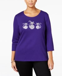 Karen Scott Plus Size Cat Graphic Top Only At Macy's Batik Purple