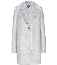 Salvatore Ferragamo Leather Trimmed Cashmere Coat Grey
