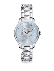 Christian Dior Dior Viii Montaigne Diamond And Two Tone Stainless Steel Automatic Bracelet Watch Silver Blue