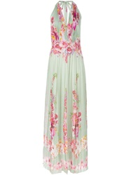 Alberta Ferretti Flower Print Pleated Gown Green