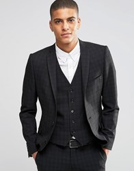 Selected Homme Suit Jacket With Mini Plaid In Skinny Fit With Stretch Black