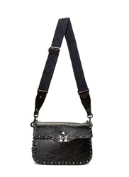 Valentino Medium Guitar Rockstud Rolling Crossbody Bag Black