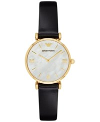 Emporio Armani Women's Gianni T Bar Black Leather Strap Watch 32Mm Ar1910
