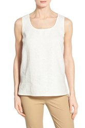 Lafayette 148 New York 'Cleo' Sequin Front Sleeveless Linen Blouse White