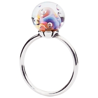 Trollbeads Aurora Glass And Sterling Silver Ring Multi