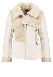 Derhy Canberra Faux Leather Jacket Ecru Off White