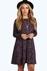 Boohoo Bella Long Sleeve Swing Dress Navy