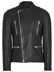 Reiss Leather Biker Jacket Black