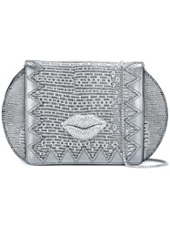 Just Cavalli Lips Detail Shoulder Bag Grey