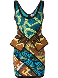 Herve Leger African Print Peplum Dress Multicolour