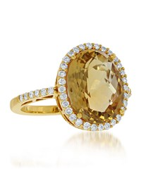 Diana M. Jewels 14K Yellow Gold Oval Citrine And Diamond Ring Size 7