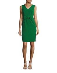 Nipon Boutique Bow Accented Crepe Sheath Dress Evergreen