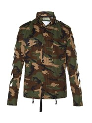 Off White Logo And Camouflage Print Field Jacket Green Multi
