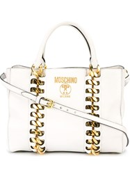 Moschino Chain Trim Tote White