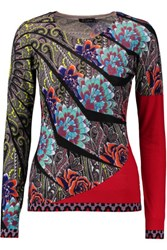 Etro Printed Silk And Cashmere Blend Sweater Red