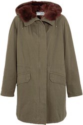Yves Salomon Shearling Lined Cotton Twill Parka Army Green