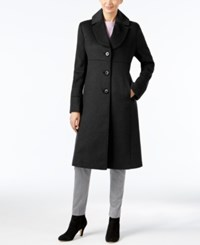 Jones New York Wool Blend Walker Coat Black