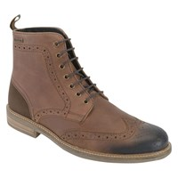 Barbour Belsay Leather Brogue Boots Dark Tan