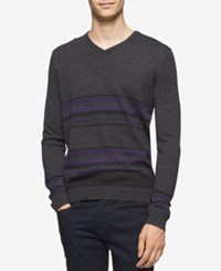 Calvin Klein Men's Merino Striped V Neck Sweater Black Jack Combo