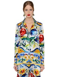 Dolce And Gabbana Maiolica Printed Silk Twill Shirt