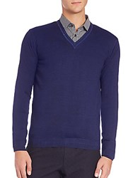 Sand Wool V Neck Sweater Navy