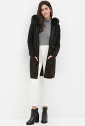 Forever 21 Faux Fur Hooded Longline Jacket Black
