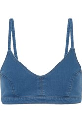 J Brand Roseann Stretch Denim Bikini Top Blue