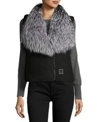 Fleurette Reversible Fur Trim Puffer Vest Black