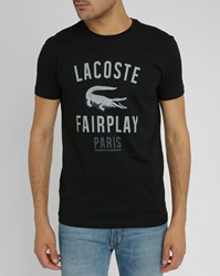 Lacoste Fairplay Black T Shirt With Crocodile Logo