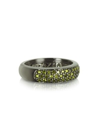 Azhar Olive Green Cubic Zirconia And Sterling Silver Ring Black
