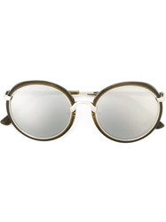 Dries Van Noten X Linda Farrow Collaboration Contrast Frame Sunglasses Metallic