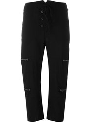 Lost And Found Zip Detail Cropped Trousers Black